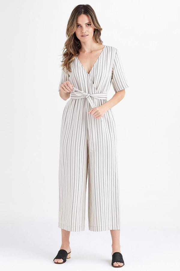 VETTA XS / Tan Stripe The Wrap Jumpsuit capsule wardrobe