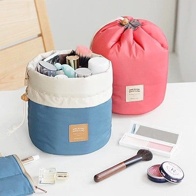 Beauty - Barrel Shaped Travel Cosmetic Bag