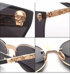 Grunge Cat Eye Metal Frame carving Flower Sunglasses - Luxxy Shop