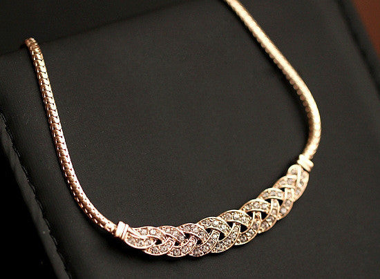 Jewelry - Sandy -  Sweater Gold Color Chain Crystal Jewelry Statement
