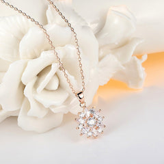Snow Flake Rose Gold Plated Necklace - Luxxy Shop