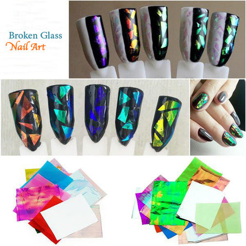 Nails - 21 Piece/pack Holographic DIY Broken Glass Nail Art