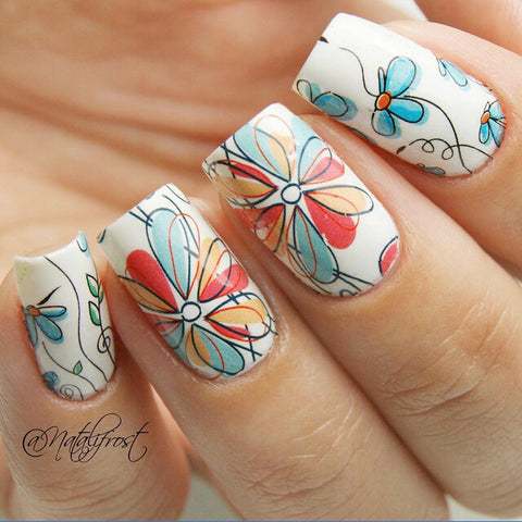 Nails - Cute Flower Pattern Nail Art Water Decal