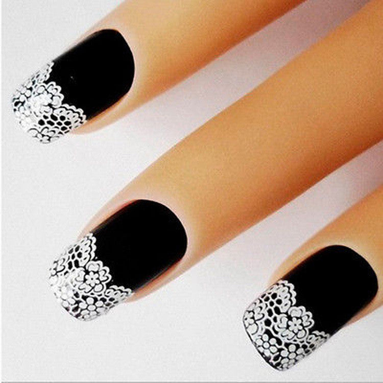 Nails - French Art Nail Sticker With White Flower Lace