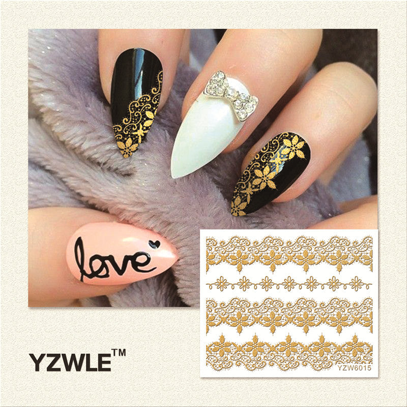 Hot Gold 3d Nail Art Decal Stickers Luxxyshop