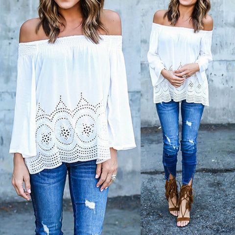 Stylish Off Shoulder Women Blouse - Luxxy Shop