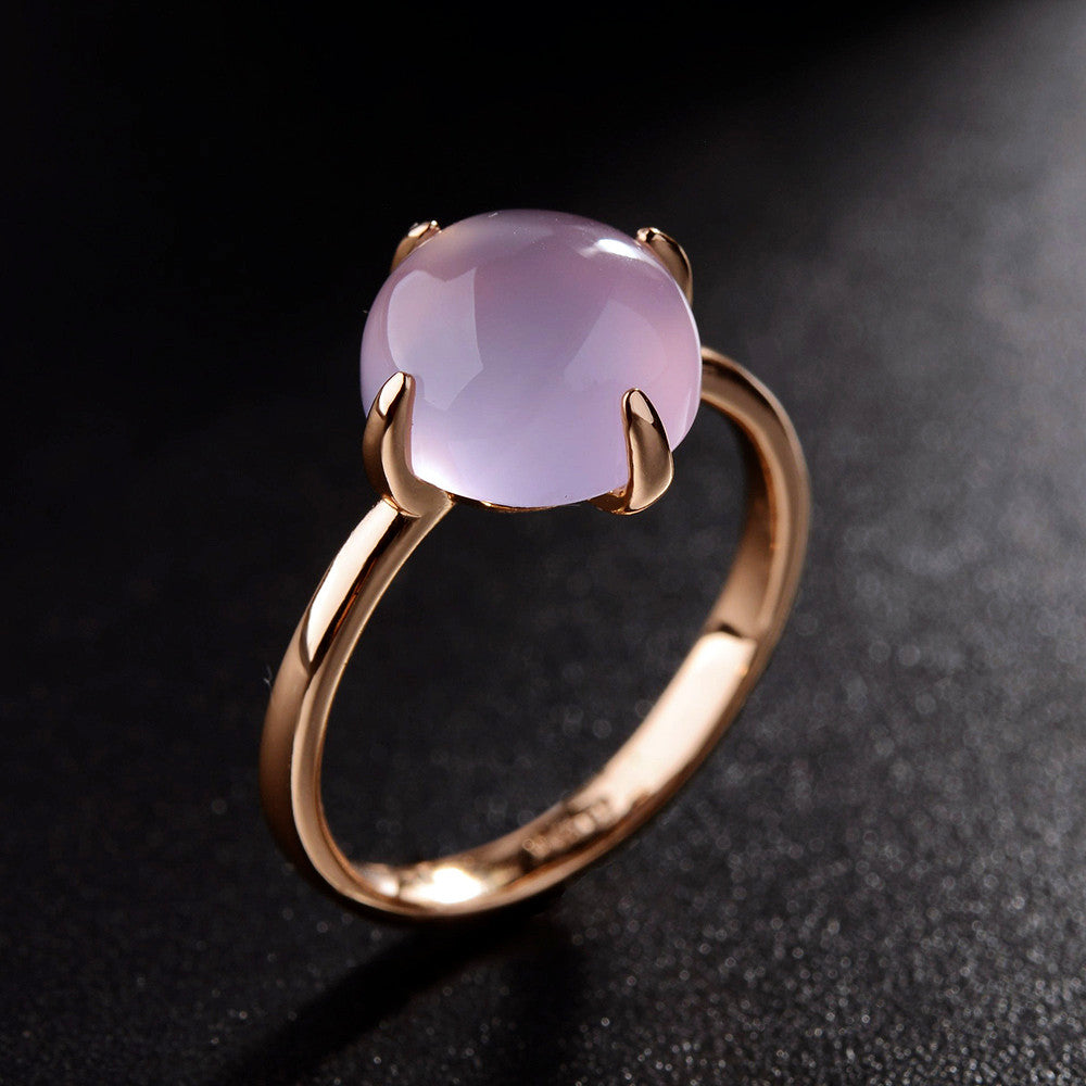 Avery Rose Gold Plated Pink Opal Austrian Ring - Luxxy Shop