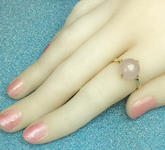 Avery Rose Gold Plated Pink Opal Austrian Ring