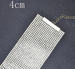 Rhinestone choker collar necklace