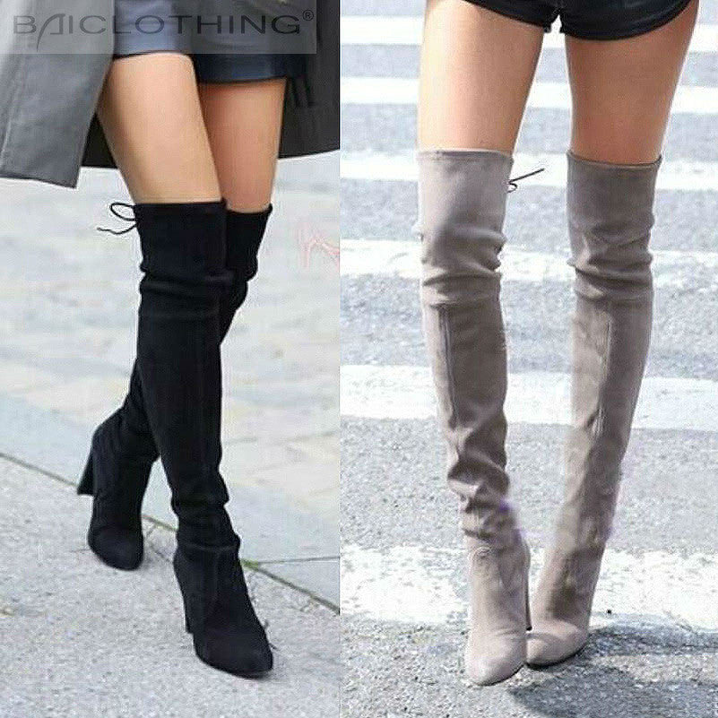 3545e0c7c23b Suzie -Women Faux Suede Thigh High Boots Over the Knee Boots Stretch.  Previous