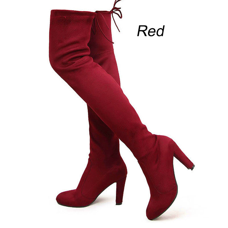 f983c532ab1 Suzie -Women Faux Suede Thigh High Boots Over the Knee Boots Stretch ...