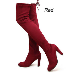 Suzie -Women Faux Suede Thigh High Boots Over the Knee Boots Stretch - Luxxy Shop