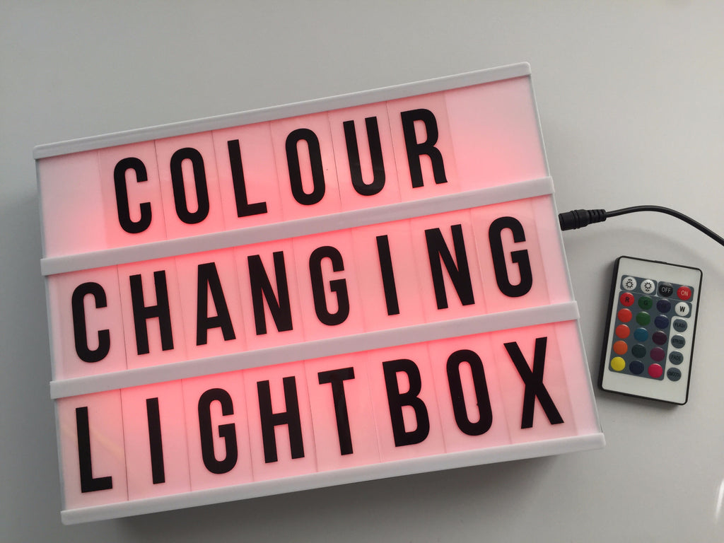 A4 Colour changing lightbox: with remote control, black and colour ...