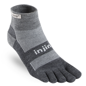Injinji Midweight Outdoor NuWool Toesocks Mini-Crew - Charcoal