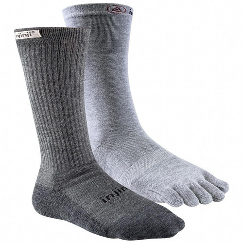 Injinji MENS Crew Outdoor Hiker + Liner - Charcoal