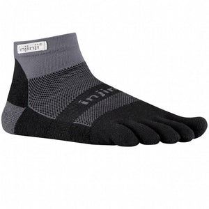 Injinji Unisex Toesocks Midweight Mini-Crew - Black/Grey