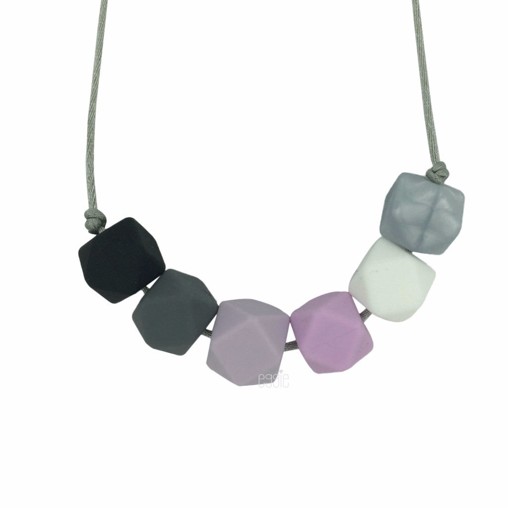 "Teething Necklace Geo - ""lilac Gray"" - eggie baby"