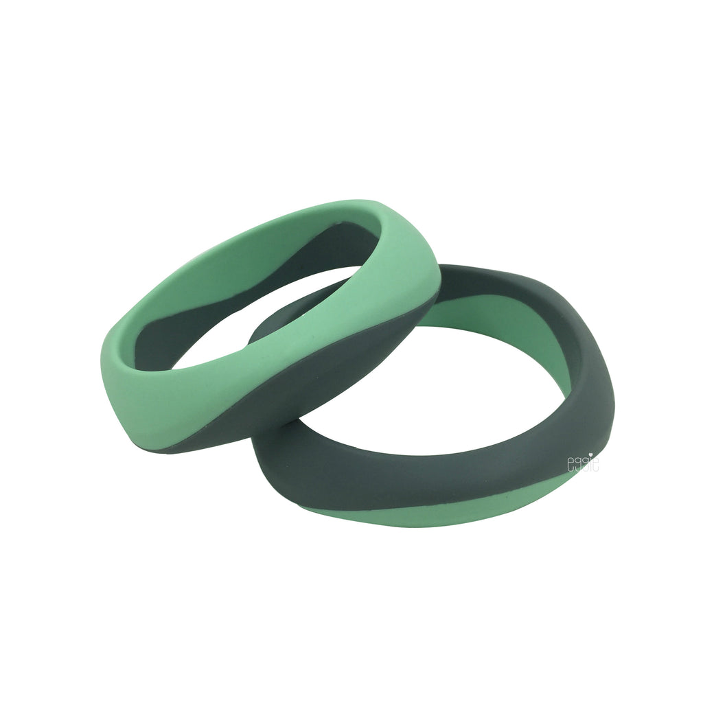 Silicone Smooth Teething Duo Bangle - Minty Gray - eggie baby