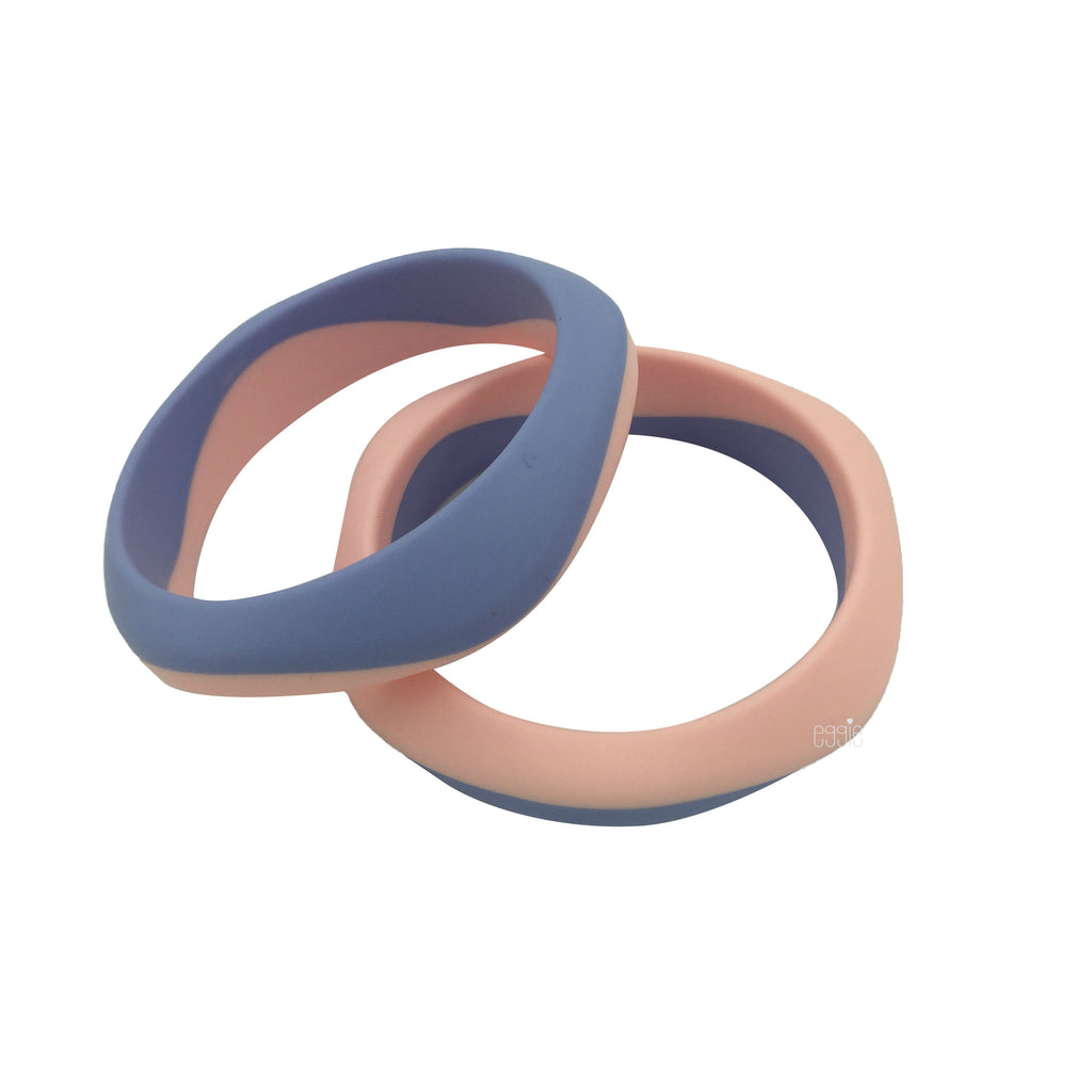 Silicone Smooth Teething Duo Bangle - Rose Quartz & Serenity - eggie baby