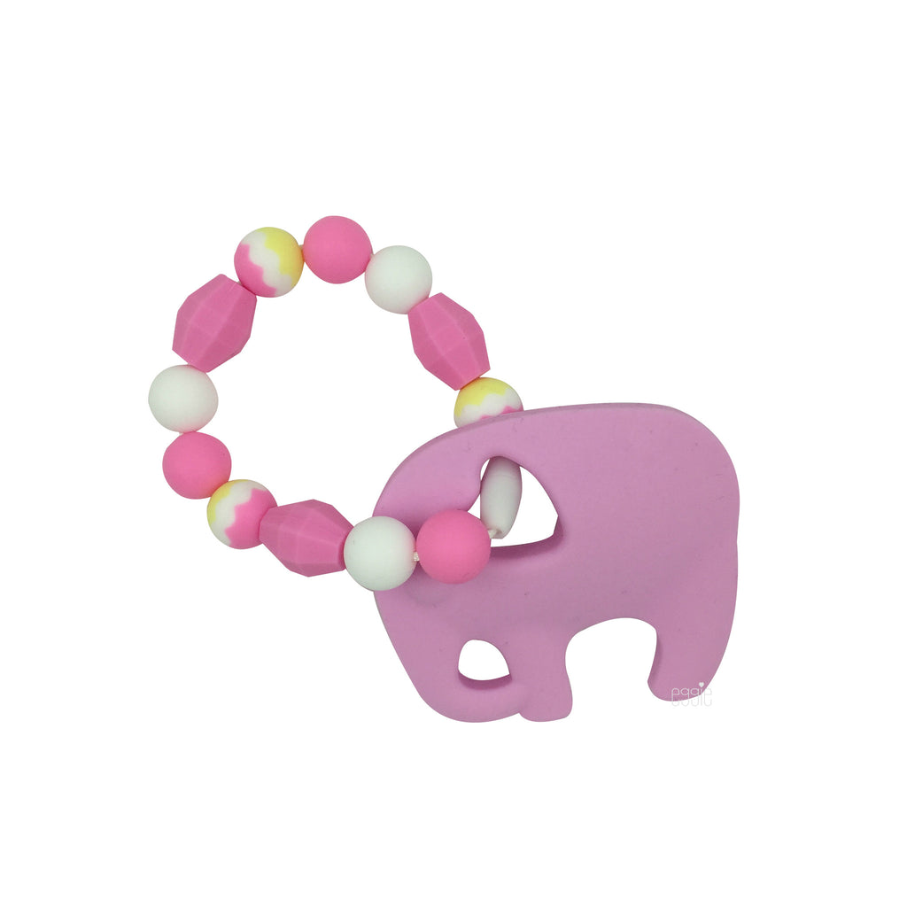 Teething Toy Elephant - Pink - eggie baby