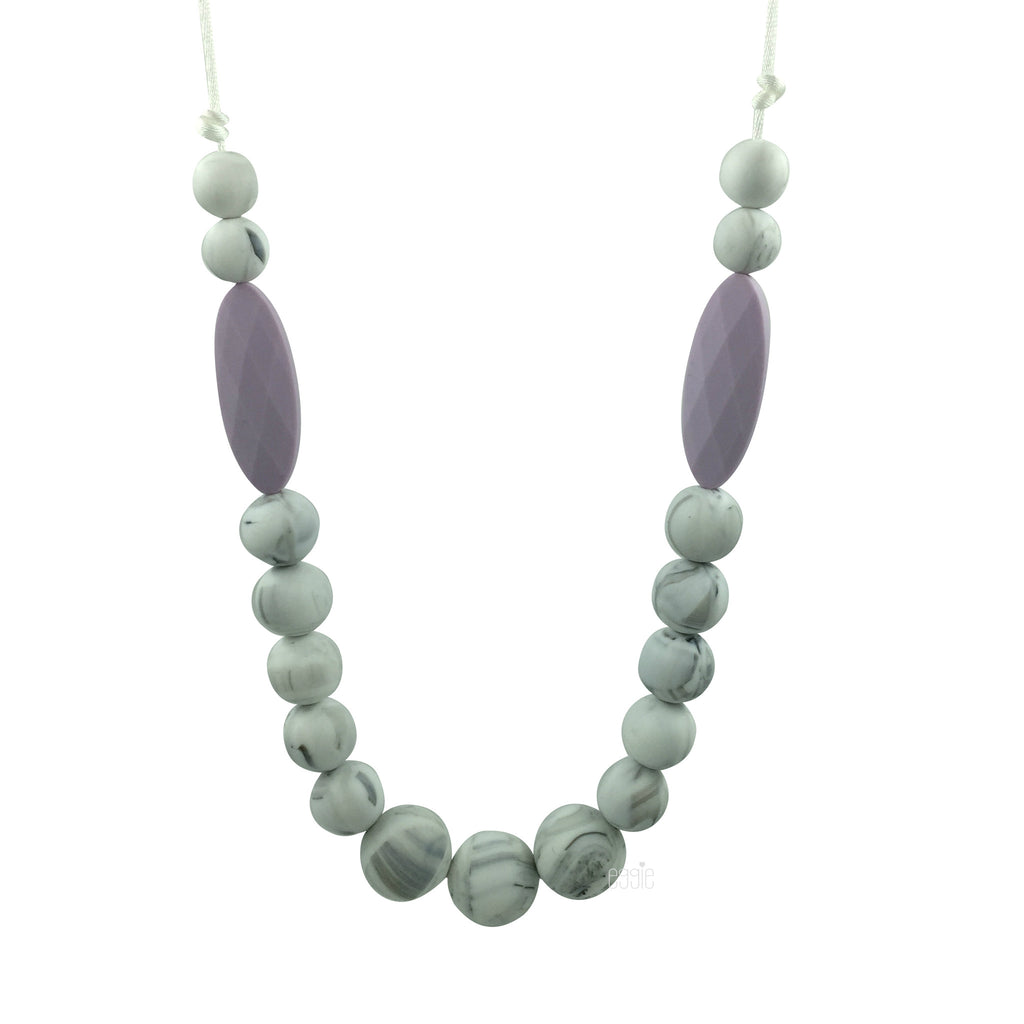 Teething Necklace Marble - Lilac Marquise - eggie baby