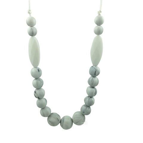 Teething Necklace Marble - White Marquise - eggie baby