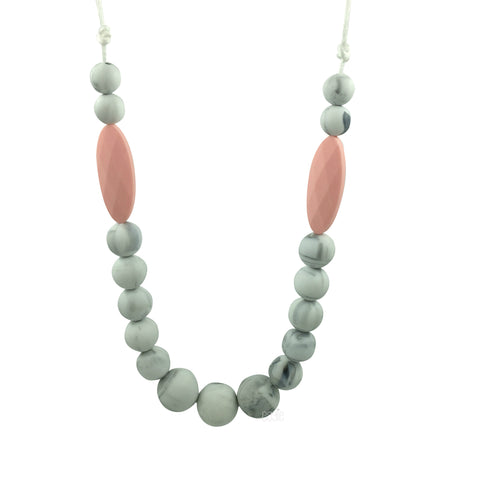 Teething Necklace Marble - Rose Pink Marquise - eggie baby