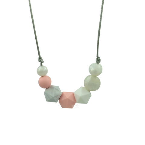 "Teething Necklace Marble Geo Mix - ""Rose Dream"" - eggie baby"