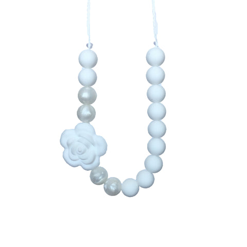 Teething Necklace Floral - Classic White - eggie baby