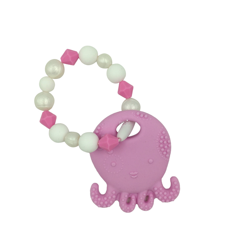 Teething Toy Octopus - Pink - eggie baby