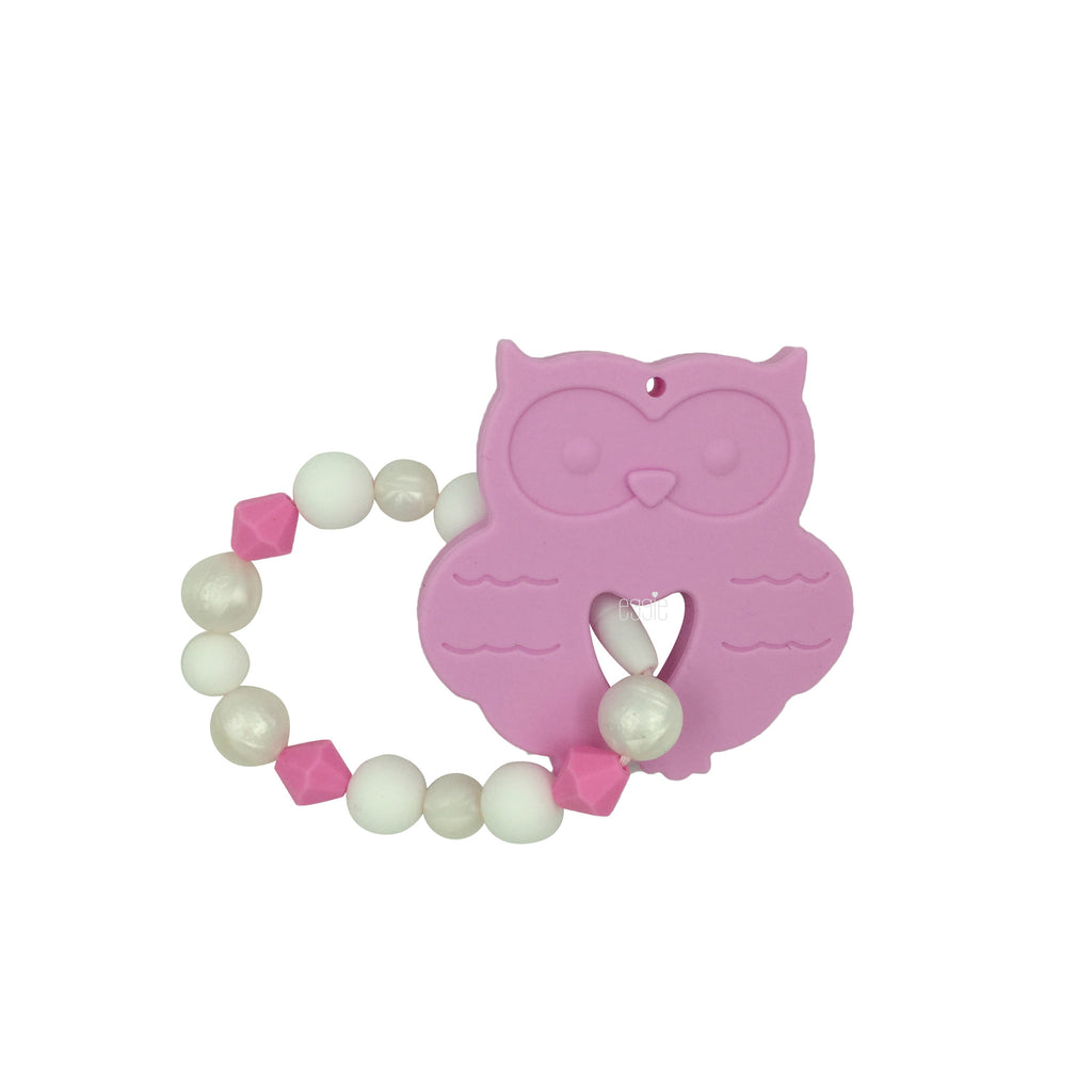 Teething Toy Owl - Pink - eggie baby