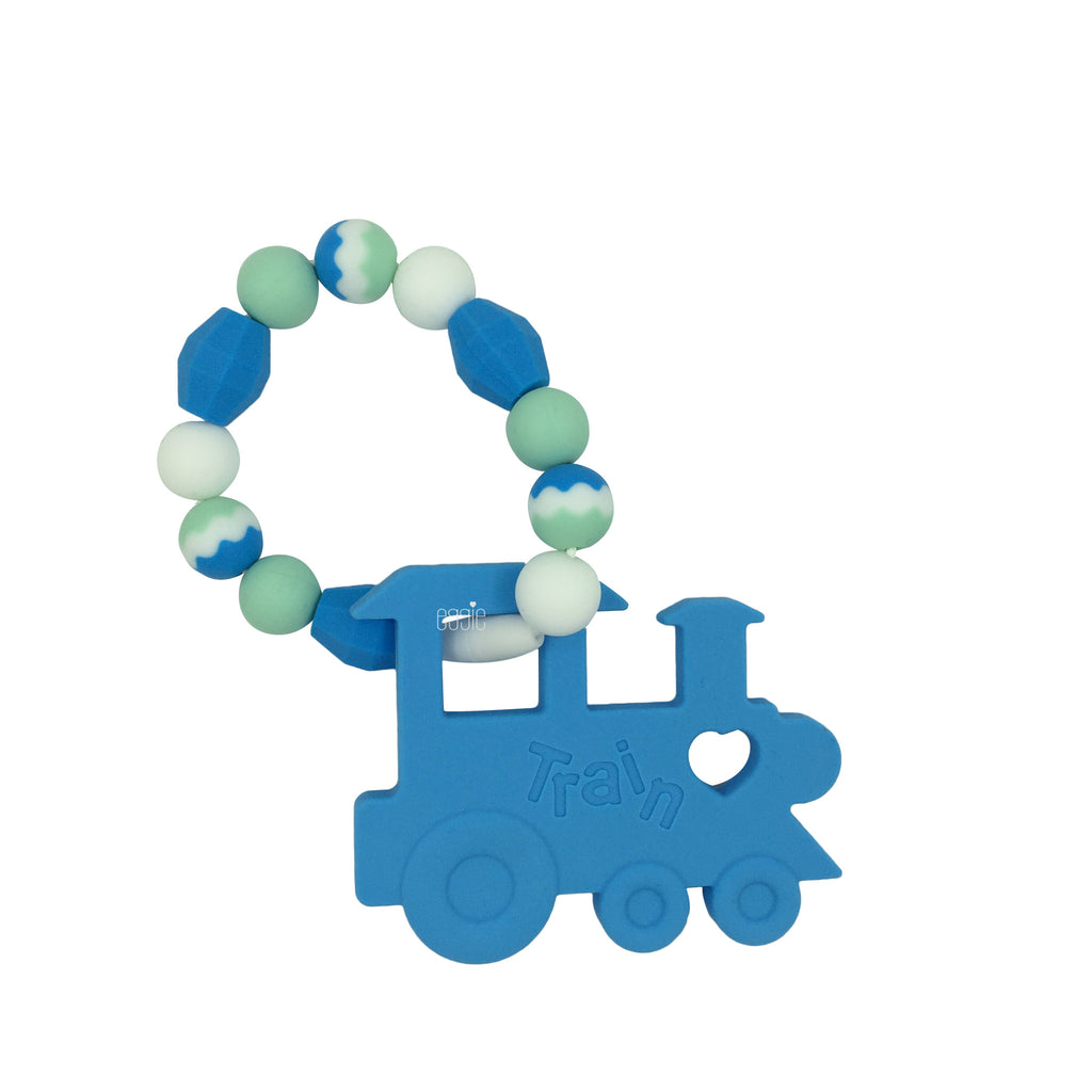 Teething Toy Train - Sky Blue - eggie baby