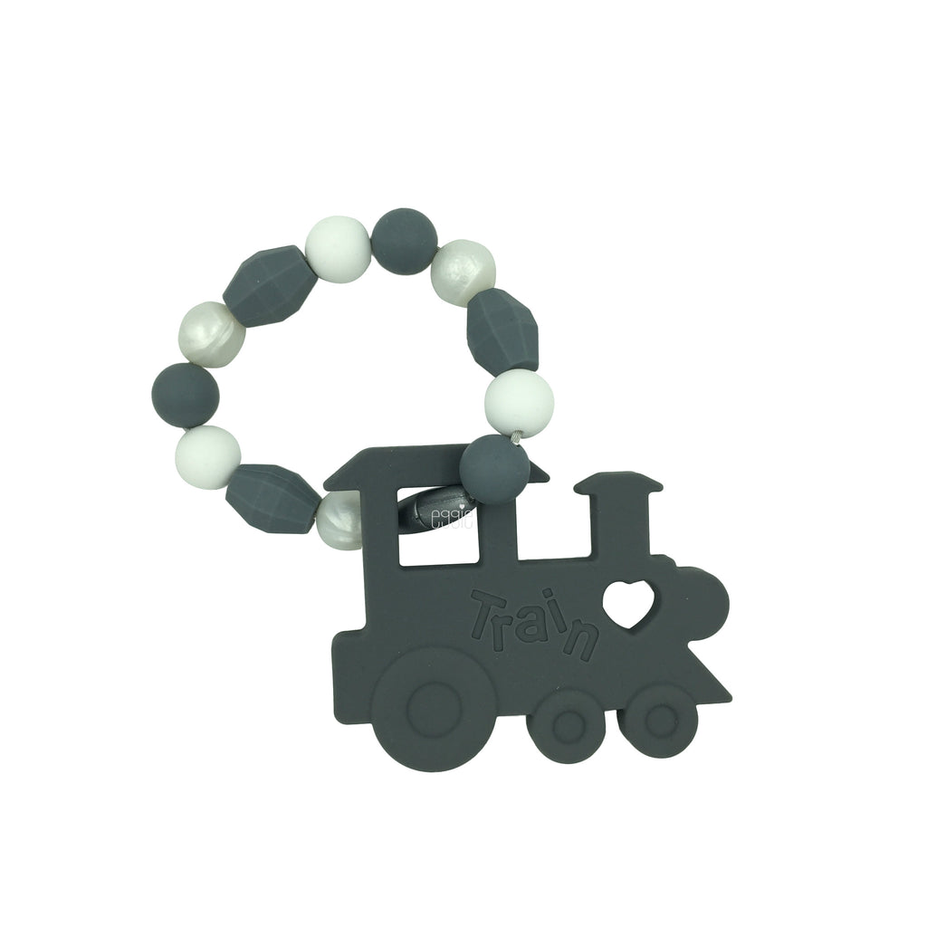 Teething Toy Train - Gray - eggie baby