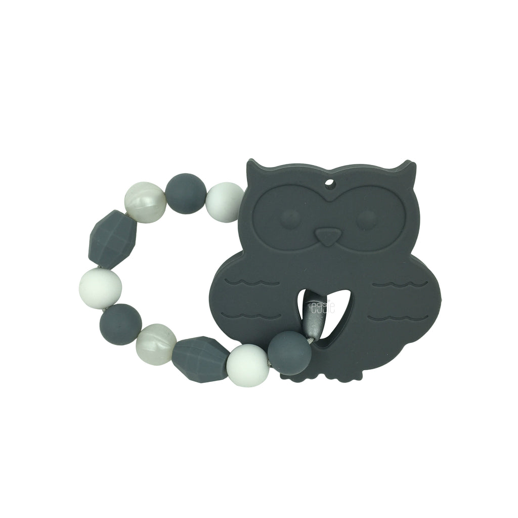 Teething Toy Owl - Gray - eggie baby