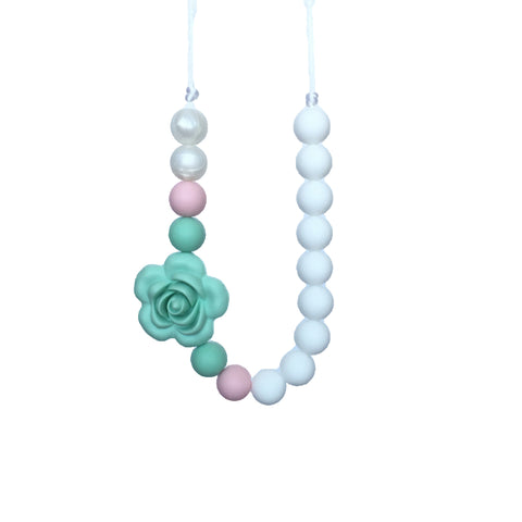 Teething Necklace Floral - Mint Pink - eggie baby
