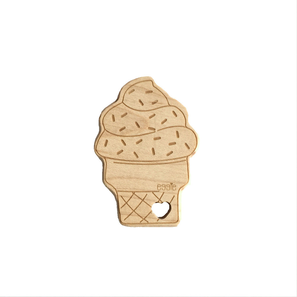 Wooden Teether - Ice Cream Cone - eggie baby