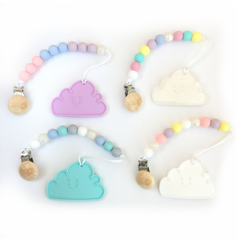 Silicone Cloud Teether with Clip - Choose Your Color