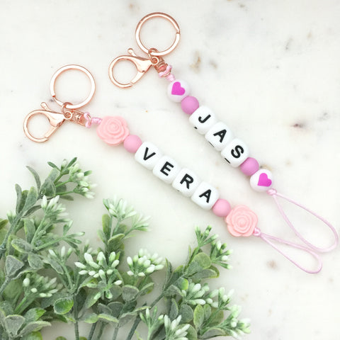 Silicone Key Ring - PERSONALIZED Name, Initial or Words - eggie baby
