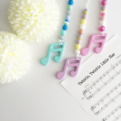 Silicone Music Note Teether with Clip - Choose Your Color - eggie baby