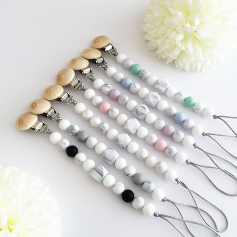 Silicone Pacifier Clip Marble - Choose Your Color - eggie baby