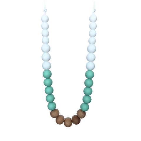 Teething Necklace Wood Mix - Mint White - eggie baby