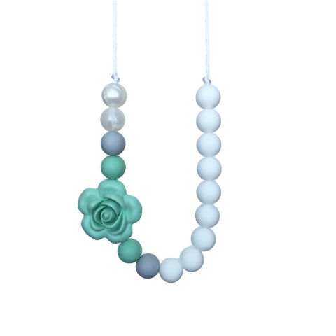 Teething Necklace Floral - Mint Gray - eggie baby