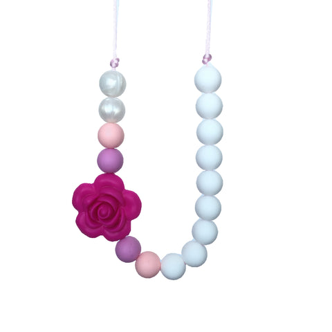 Teething Necklace Floral - Violet Red - eggie baby