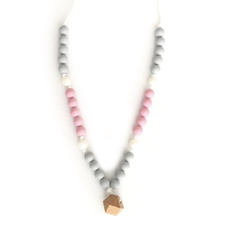"Teething Necklace Wood Geo Mix - ""Isabella"" - eggie baby"