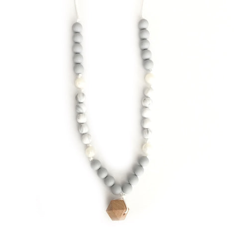 "Teething Necklace Wood Geo Mix - ""Coco"""