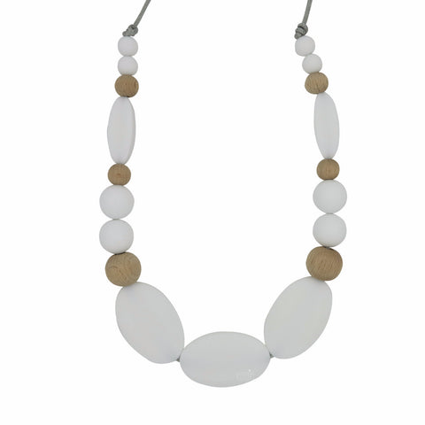 "Teething Necklace Wood Mix - ""Blanca"" - eggie baby"