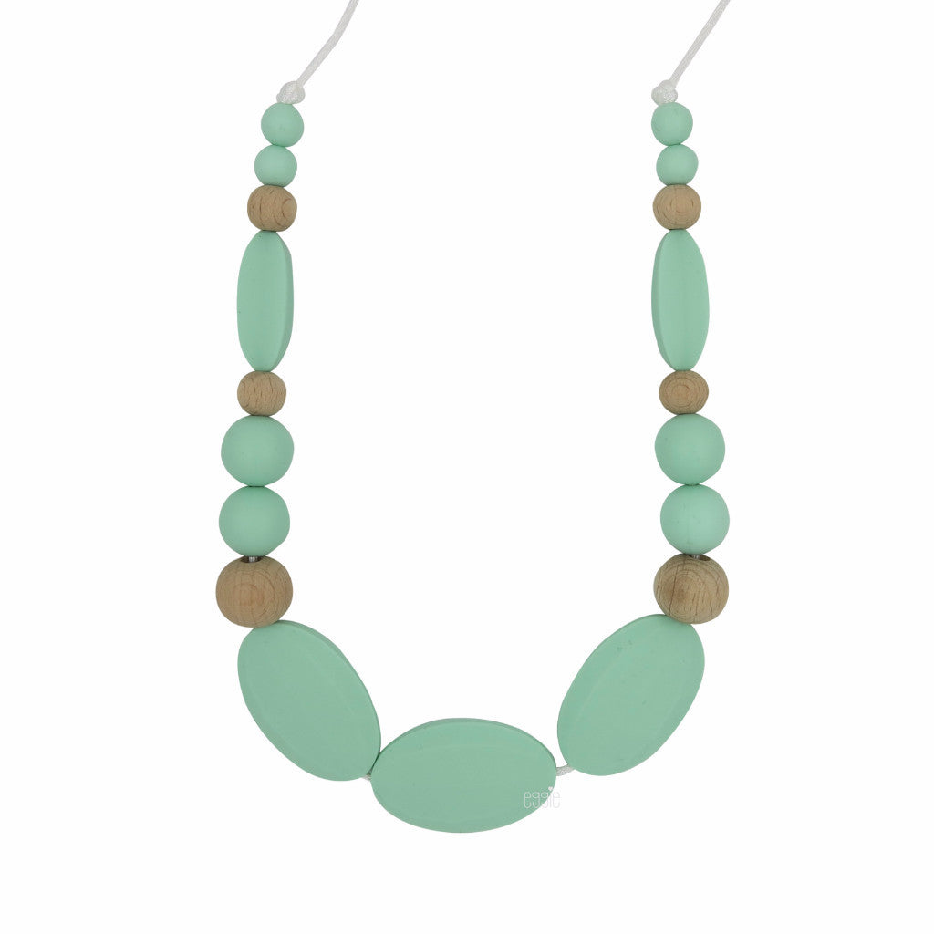 "Teething Necklace Wood Mix - ""Minty"" - eggie baby"