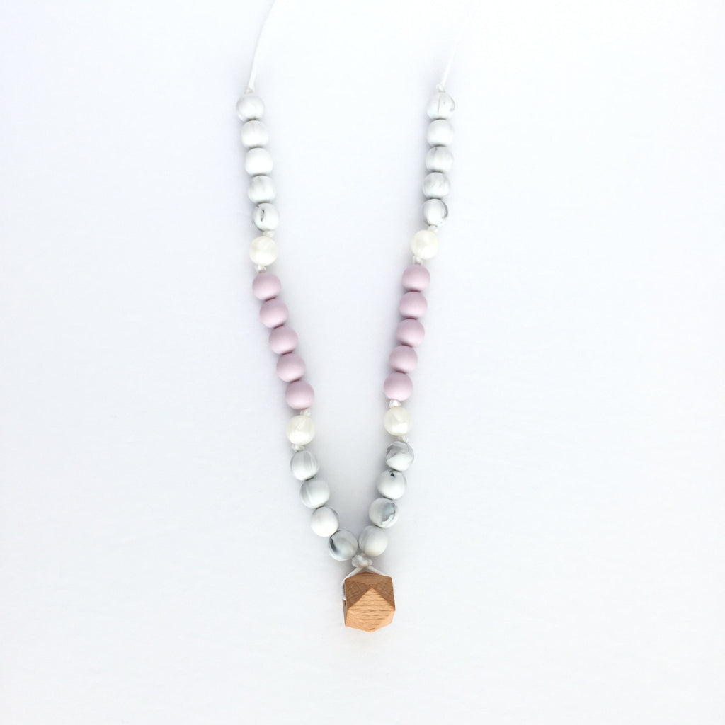 "Teething Necklace Wood Geo Mix - ""Adelia"" - eggie baby"