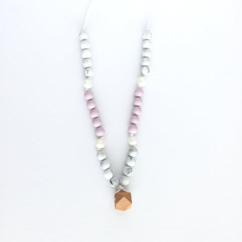 "Teething Necklace Wood Geo Mix - ""Adelia"""