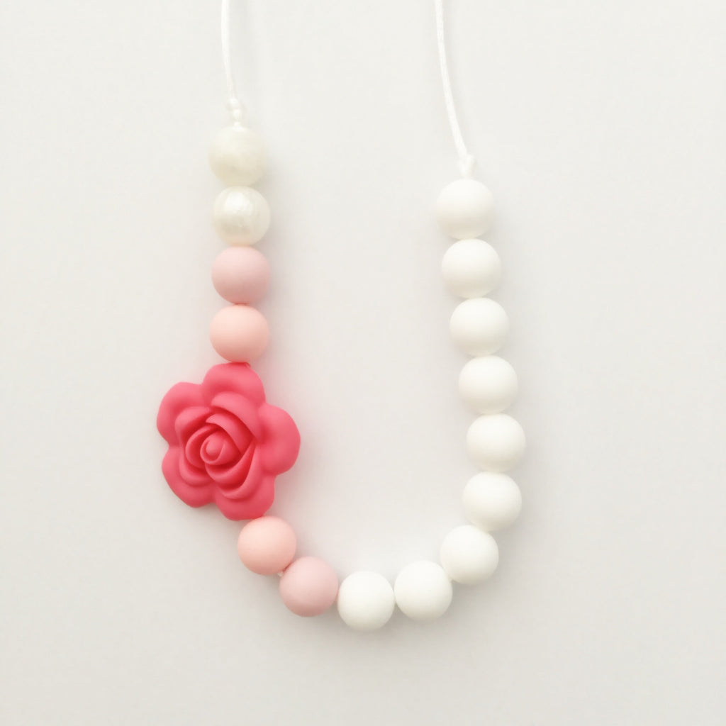 Teething Necklace Floral - Pink - eggie baby